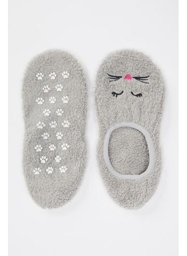 DeFacto Peluş Ev Çorabı Gri